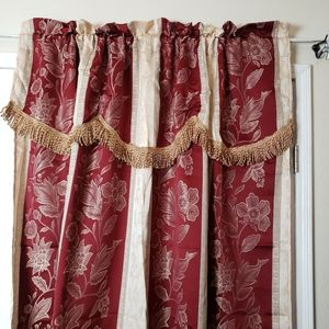 Luxury Jacquard Curtain Panel with Attached Waterf